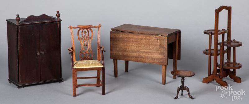 Five pieces of miniature furniture