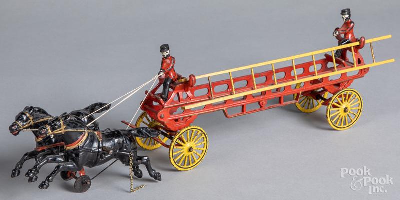 Wilkins cast iron horse drawn fire ladder wagon