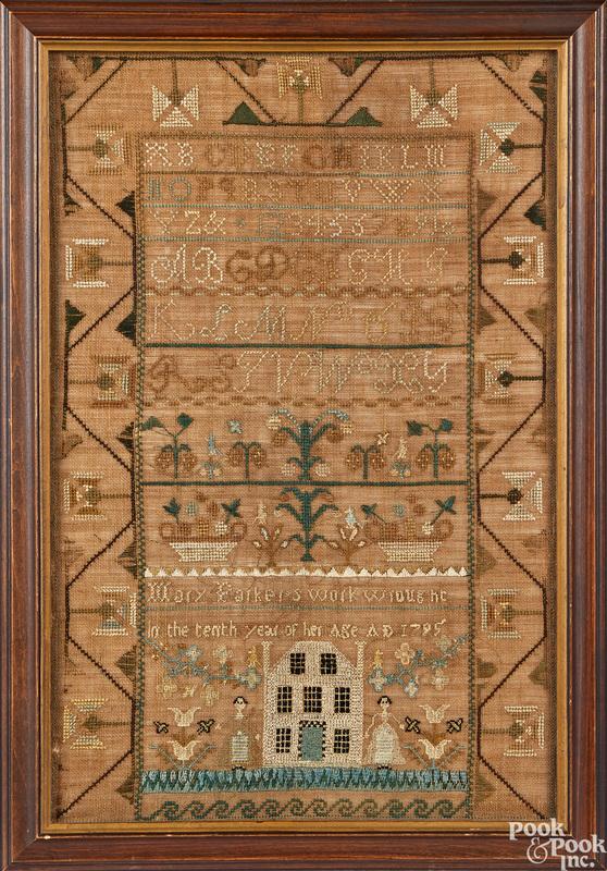 Silk on gauze sampler dated 1795