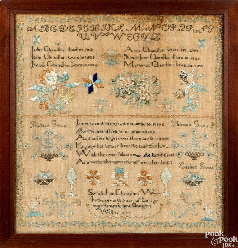 Silk on linen family record, dated 1833