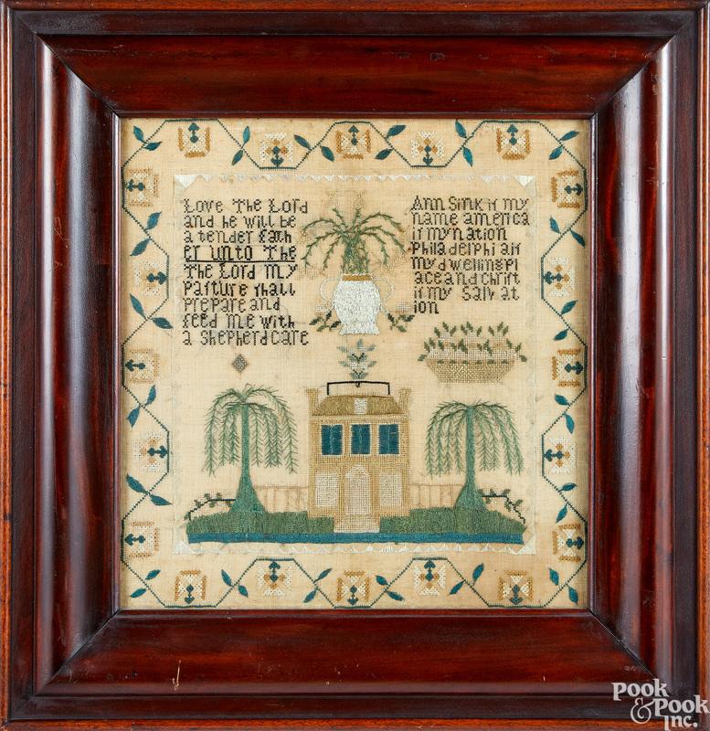 Silk on linen sampler dated 1814