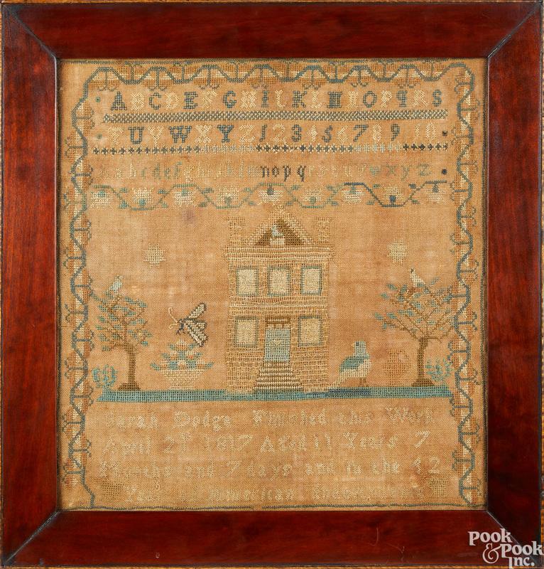 Silk on linen needlework sampler, ca. 1817