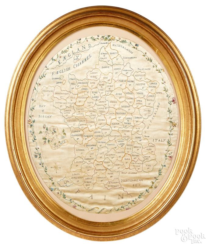 English silk on silk needlework map of France