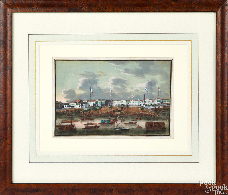 Four gouache on pith paper China Trade port views