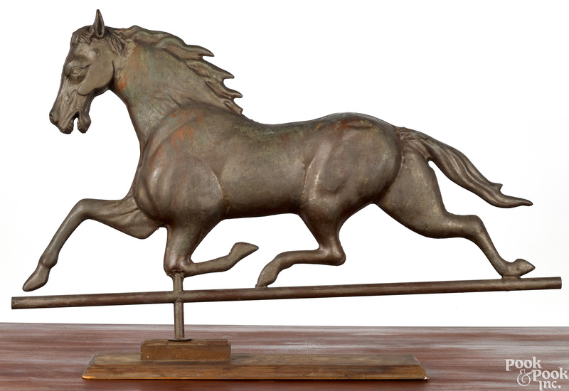 Full bodied copper running horse weathervane
