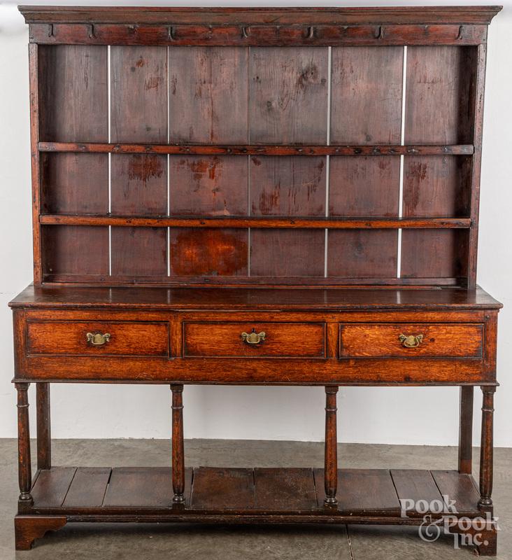 English oak pewter cupboard, 18th c.