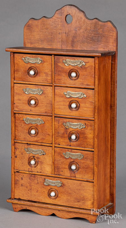 Pine hanging spice cabinet, ca. 1900