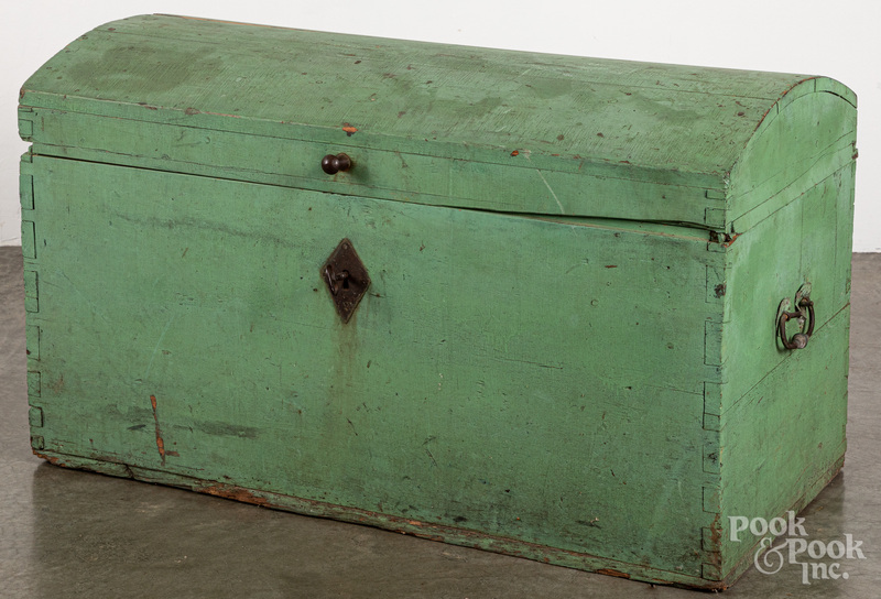 Painted pine dome lid trunk, 18th/19th c.