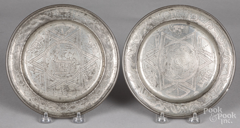 Two Continental pewter patens, dated 1777