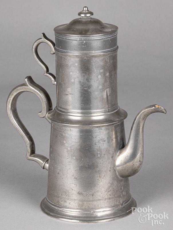 Rare pewter biggin teapot with strainer