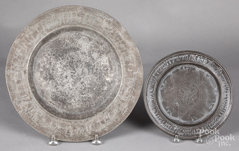 Engraved pewter Judaica plate and charger, 18th c