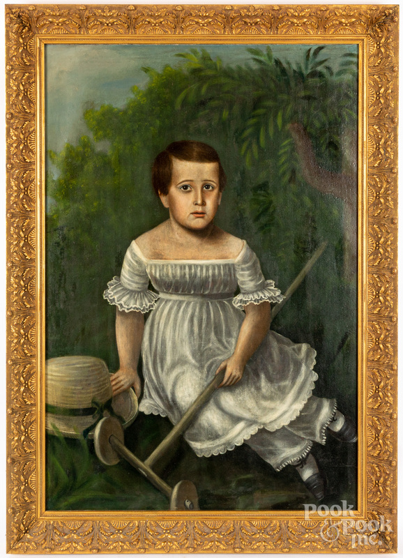 English oil on canvas portrait of a boy