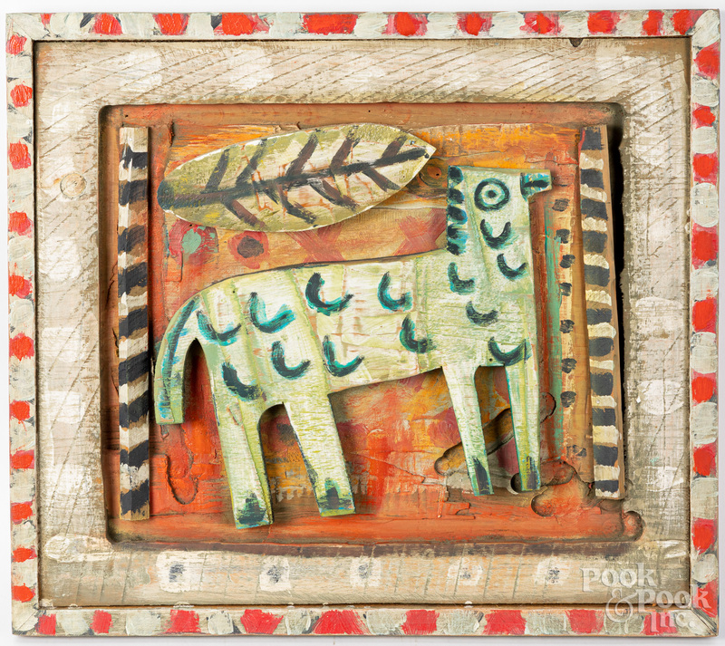 Carved and painted folk art panel