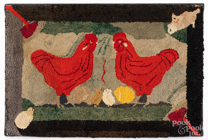 American hooked rug with chickens, ca. 1900