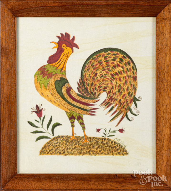 Bill Rank oil on velvet theorem of a rooster