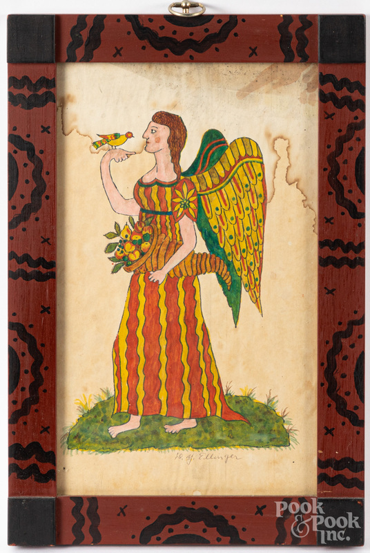 David Y. Ellinger watercolor fraktur of an angel