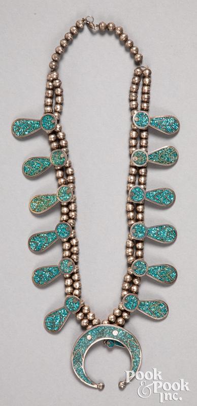 Navajo Indian squash blossom necklace