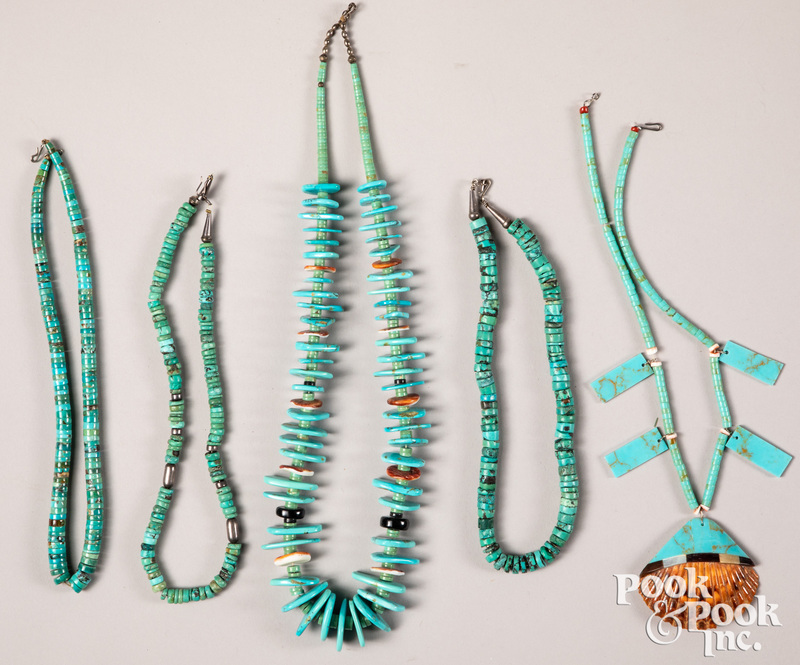 Five Native American Indian turquoise necklaces.