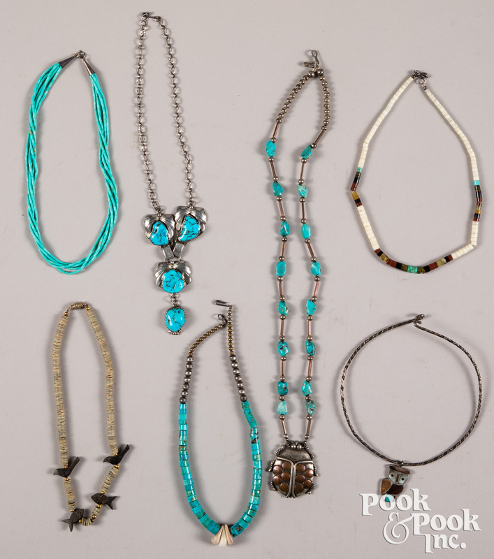 Seven Native American Indian necklaces