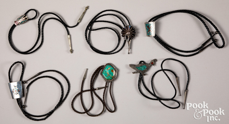 Six Native American Indian bolo ties.