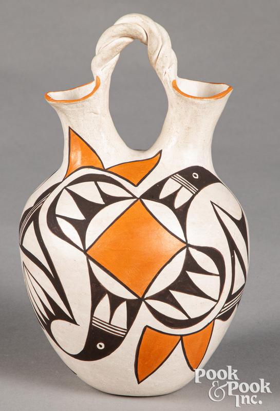 Eva Histia Acoma Pueblo Indian pottery vase