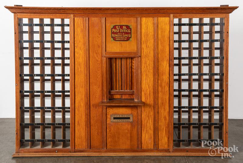 U.S. Post Office oak cabinet