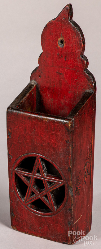 Painted maple pipe box, 19th c.