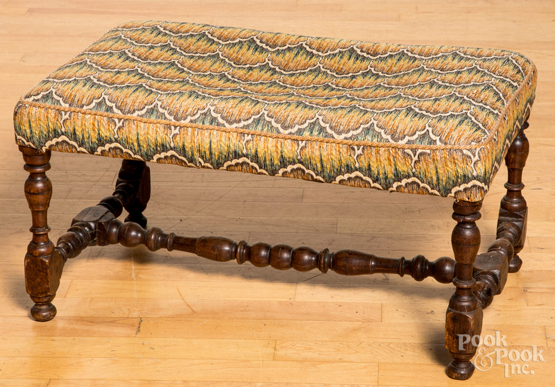 William and Mary style yewwood footstool