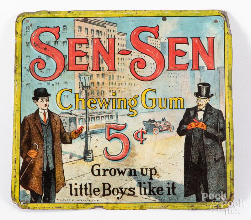 Sen-Sen Chewing Gum embossed tin advertising sign