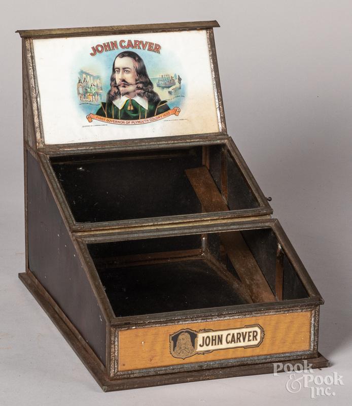 John Carver tin lithograph cigar store display