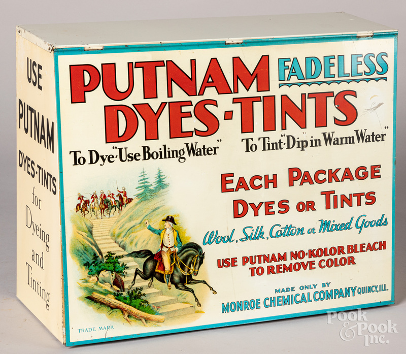 Putnam tin lithograph dye cabinet