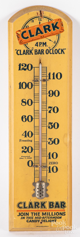 Clark Bar wooden advertising thermometer