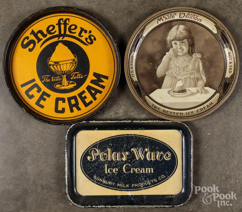 Three ice cream tin lithograph serving trays