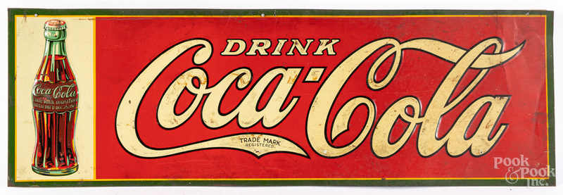 Embossed tin lithograph Coca-Cola sign