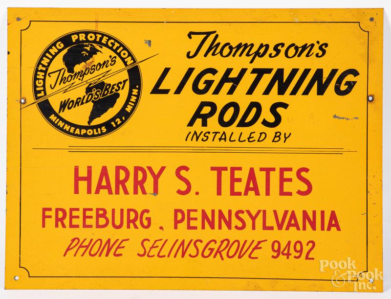 Thompson's Lightning Rods advertising sign