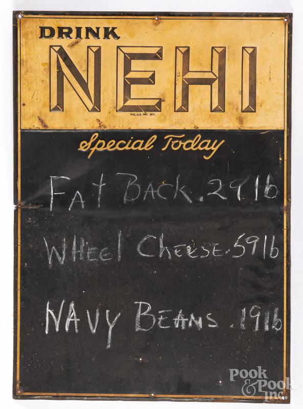 Nehi tin lithograph advertising menu board sign