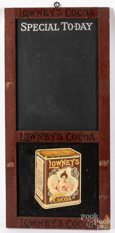 Lowney's Cocoa advertising menu board sign