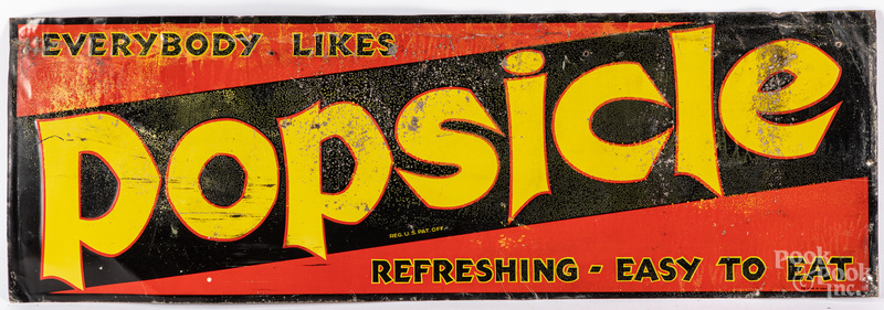 Popsicle embossed tin advertising sign