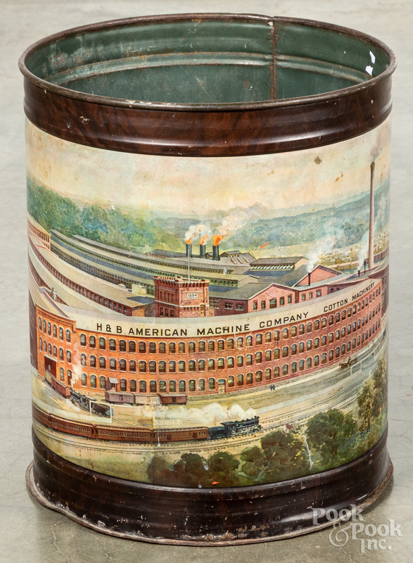 Cotton Machinery tin lithograph can