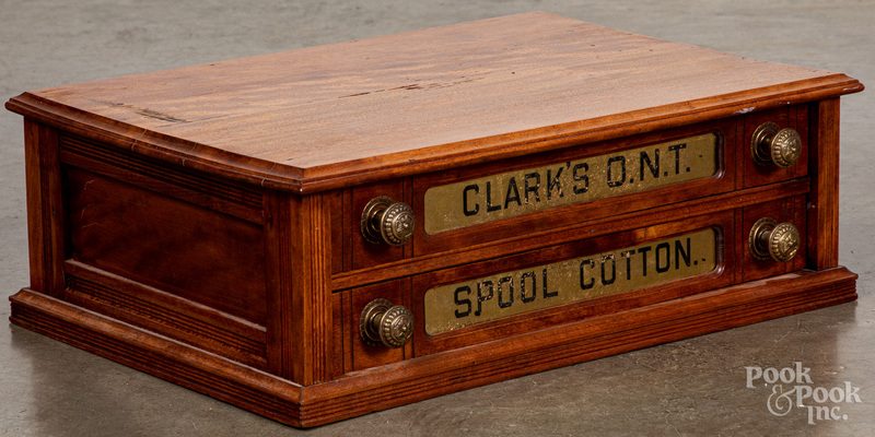 Clark's ONT two-drawer walnut spool cabinet