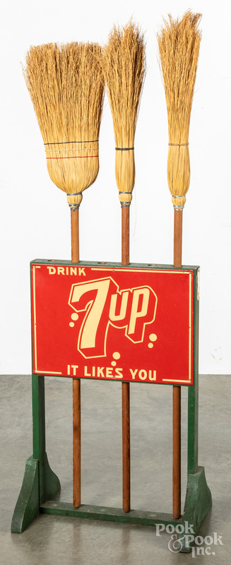 7-up tin lithograph country store broom display