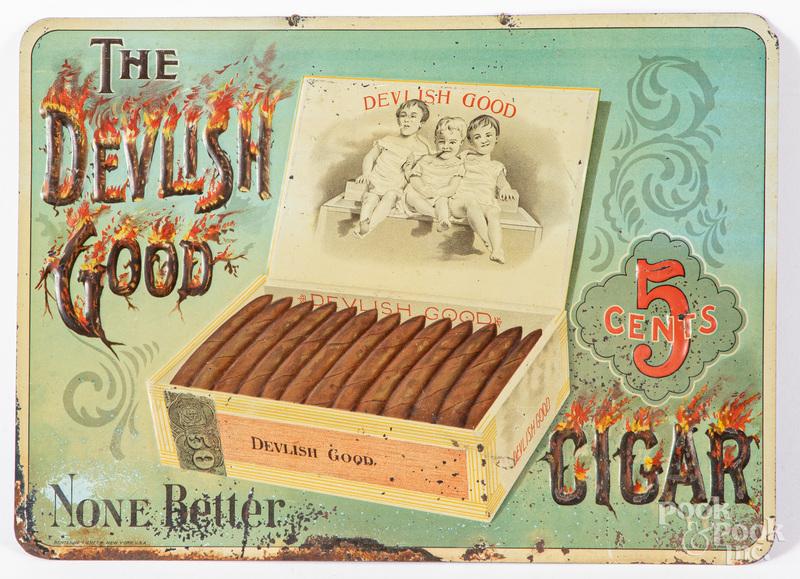 Devlish Good Cigar tin advertising sign