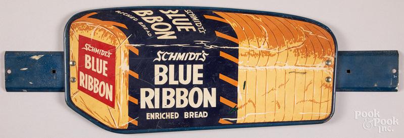 Schmidt's Blue Ribbon Bread tin store door push