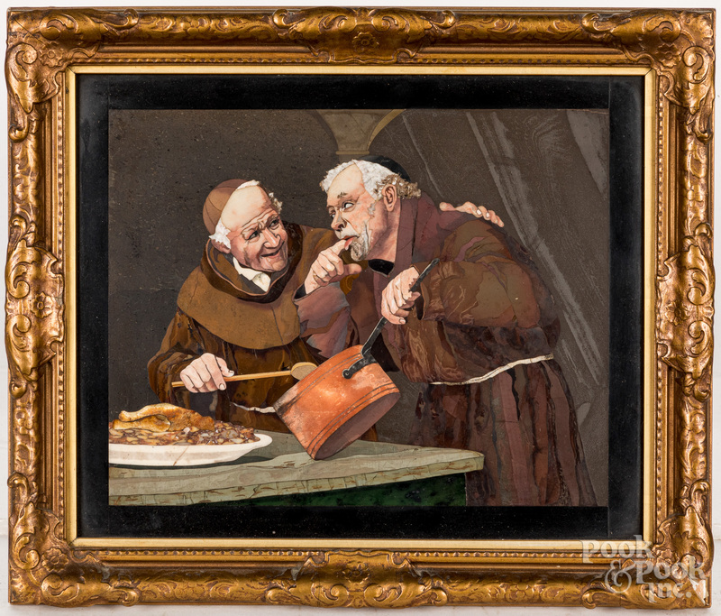 Italian mosaic panel of two monks cooking
