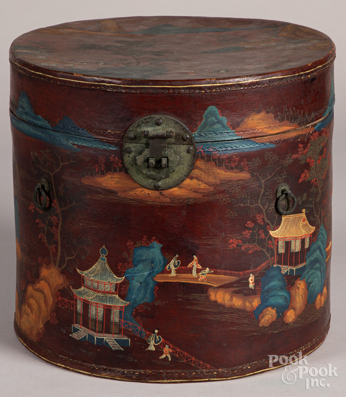 China Trade painted leather hat box