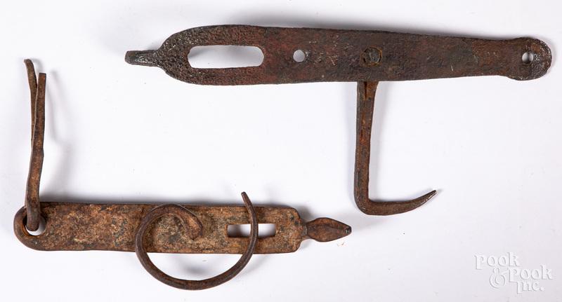 Two wrought iron Conestoga Wagon box hasps