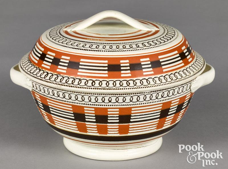 Mocha lidded bowl, with engine turned decoration