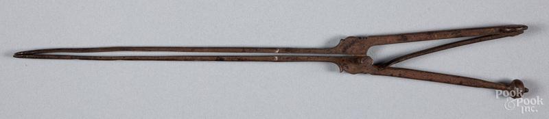 Pair of wrought iron pipe tongs, ca. 1800