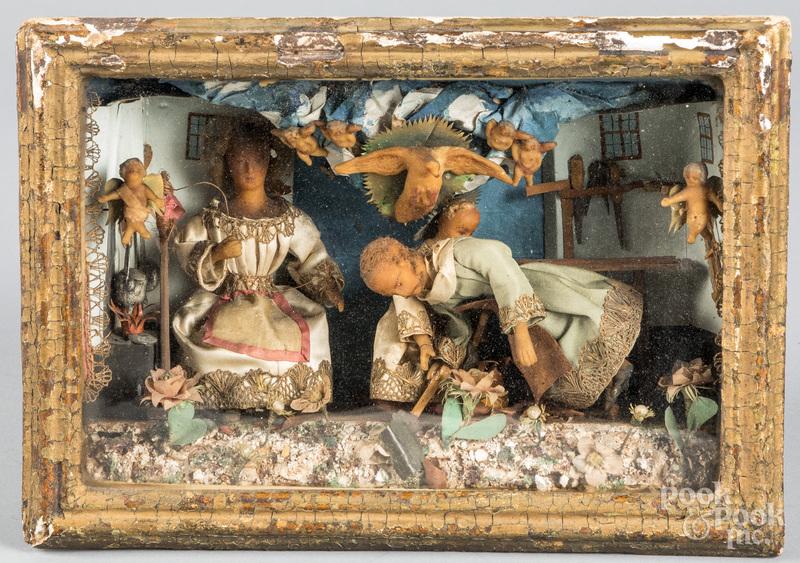 English Wax diorama of a family, 19th c.