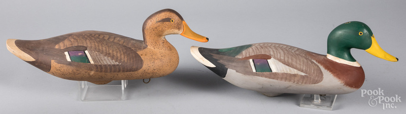 Pair of carved and painted mallard duck decoys